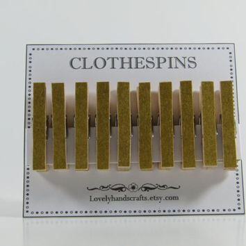 Gold Washi Tape -  Decorated Clothespins - Bridal Shower Favors - Set of 8