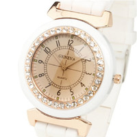 Hot New Geneva Women's Lady Girl Rhinestone Crystal Silicone Rubber Strap Band Analog Quartz Wrist Watch Smart