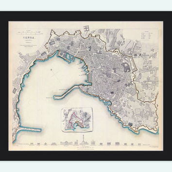 Old Map of Genova Genes Genoa , City Plan Italia 1836 Antique Vintage Italy