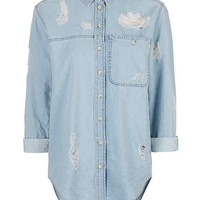MOTO Rip Detailed Denim Shirt - New In This Week - New In