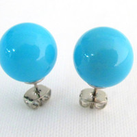 Turquoise Blue Stud Earrings 12mm Turquoise Pearl Stud Earrings Wedding Bridesmaid Gift Free Shipping In USA