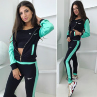 Women Fashion Nike Print Top Tees Coat Pants  Set Three-Piece Sportswear