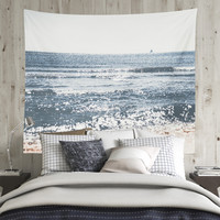 Wall Tapestry With Ocean Photography Print, Nautical Wall Art, Ocean Tapestry, Sailboat, Beach, Waves, Summer, Home Decor, Wall Decor, Gifts