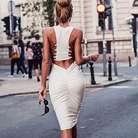 Fashion Solid Color Backless Hollow Crisscross Bandage Sleeveless Bodycon Dress
