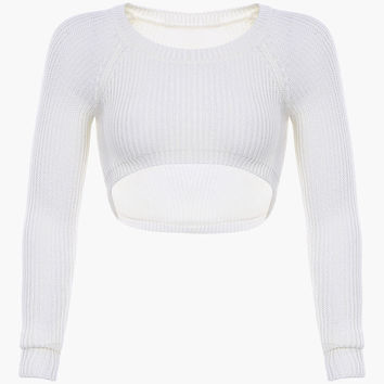 White Knitted Long Sleeve Cropped Top