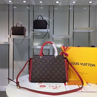 Kuyou Gb29107 Lv Louis Vuitton M41485 Handbags Top Handles In Monogram And Cuir Taurillon Leather 28-22-10cm
