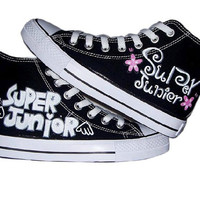 KPOP Super Junior/SJ/SuJu Hand-Painted Canvas Shoes High Top Sneaker Lace Up Printing Leisure  Shoe