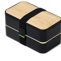 PuTwo Bento Box Leakproof 2 Tier with Cutlery Lunch Box Microwave BPA Free All-in-One - Bamboo