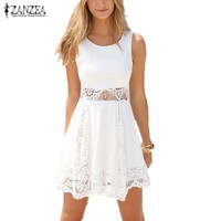 Zanzea 2017 Summer Style White Dress Women Casual Solid Lace Strapless Sexy A-line Short Mini Dresses Plus Size Vestidos