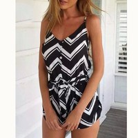 Brand Design Summer Vacation Jumpsuit Wave Striped Rompers Sling Strap Jumpsuits Casual Slim Beach Playsuit Shorts BM-C1488