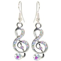 1/2 X 1 1/2 Treble Clef Music Earrings with Rhinestones, in Crystal with Silver Tone Finish