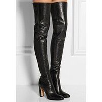 Plain Leather Black Thigh High Boots Square Heel Round Toe Zip Over Knee High Boots Autumn Shoe Fashion Motorcycle Booties Women