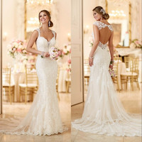 2016 Stella York Wedding Dresses with Open Back and Long Train Lace Appliques Tulle Romantic Bridal Gowns Custom Made