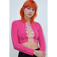 Stockholm Reverse Stitch Lace Up Top - Magenta