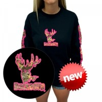 Bucked Up Logo Longsleeve-Black/Pink-Camo: Hunting Apparel | Hunting Clothes | Shirts | Stickers | Decals