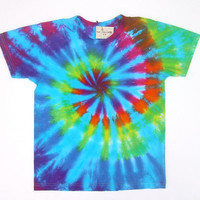 Tie Dye Shirt/ Child Large/ Rainbow Spiral with Turquoise