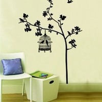 Bird Cage and the Tree Vinyl Art Mural Home Room Decal Decor Wall Stickers Wall Decals