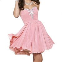 Fashion Plaza Sweetheart Strapless A-line Short Chiffon Homecoming Dress D0363 (US2, Mint)