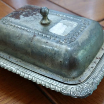 Vintage Rustic Silver Toned Lidded Soap Dish Butter Dish Great for Business Cards and Trinkets