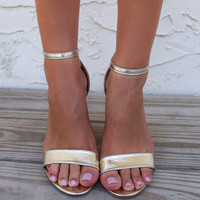 Run Away With Me Gold Single Strap Block Heels