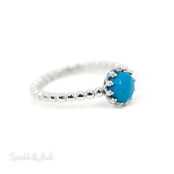 Sterling Silver Small Round Turquoise Crown Ring