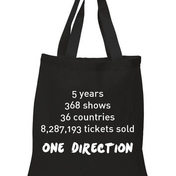 """One Direction """"Stats"""" 100% Cotton Tote Bag"""
