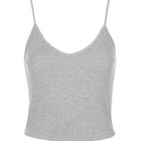 PETITE Ribbed Cropped Cami - Grey