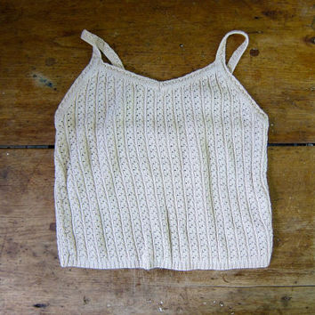 Natural Oatmeal Beige Knit Shell Top Sleeveless Sweater Top Preppy Open Knit Cropped Cotton Tank Top Knit Sweater Tank Vintage DELLS Small