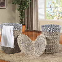 Woven Laundry Basket with Lid (Set of Two)