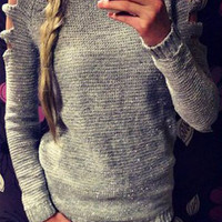 Long Cut Out Sleeve Sweater