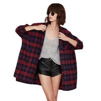 2017 Trending Fashion Women Loose Long Sleeve Plaid Button Outerwear Jacket Shirt Blouse _ 12576