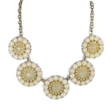 Retro Flower Necklace, Faceted Cream Lucite Cabochons Set in Gold Tone
