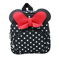 Toddler Backpack class Cute Cartoon Bow Tie Dots School Bag for Girl Kindergarten Baby Waterproof PU Plush Backpack for Toddler Early Education Gift AT_50_3