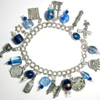 """Beautiful Pesach Charm Bracelet Sterling Chain Links Pewter Charms Passover Jewish 8"""" Judaica Seder OOAK"""