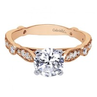 14k Rose Gold 1.37cttw Bead Set Round Diamond Engagement Ring