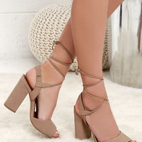 Steve Madden Serrina Camel Leather Lace-Up Heels