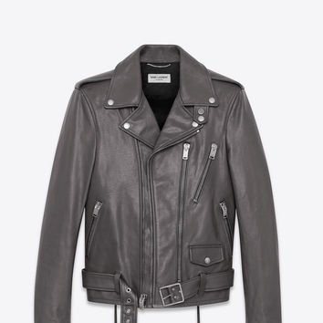 signature motorcycle jacket in dark anthracite leather