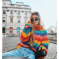 Women's Fashion Winter Stripes Knit Pullover Plus Size Tops [1447966441569]