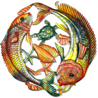 24 inch Painted Two Fish Jumping - Croix des Bouquets