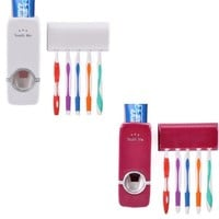 Automatic Toothpaste Dispenser Toothbrush Holder Stand Set Wall Mount Rack Wine Red/ White = 5987601665