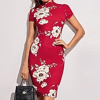 Mock-Neck Floral Print Bodycon Dress Women Stand Collar Short Sleeve Elegant Fitted Midi Dresses