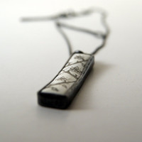 Cherry Blossoms - Glass Enameled Drawing in Oxidized Sterling Silver