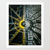 Day and night above Paris Art Print by hdphoto