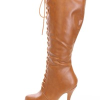 Tan Knee High Lace Up Boots Faux Leather