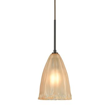 Calipsa 1-Light Mini Pendant in Oiled Bronze with Light Amber Frosted Glass