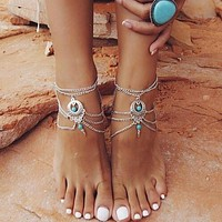 Turquoise Barefoot Sandals Anklet