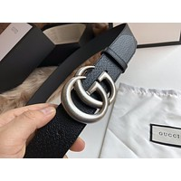 Hot33 Women's  Men's Fashion Smooth Buckle Belt Leather Belt Monogram Leather Belt