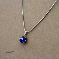 Turkish evil eye necklace,blue eye necklace,short necklace,snake chain,bridesmaids wedding gift,personalized love gift,besties sisiters gift