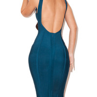Teal Low Neck and Back Dress