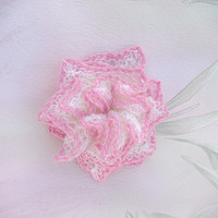 Bridal Hair Accessory, Hand-knit Flower, Bridesmaid/Flower Girl Accessory, White with Pink Edge, Estonian Lace